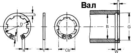 Стопорное кольцо DIN 984 - размеры, характеристики.